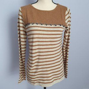 J. Crew Factory Striped Crew Neck Beaded Sweater